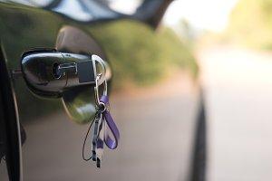 Key inserts on door handle