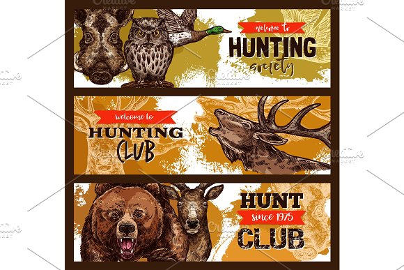 Hunting Sport Hunter Club Banner With Wild Animal