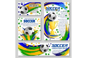 Soccer ball and trophy card of football sport club
