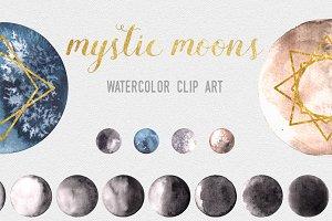 Mystic Moon Watercolor Clipart