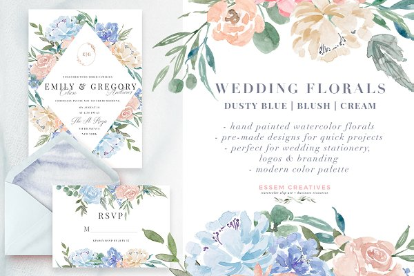 Wedding Watercolor Flowers Graphics