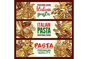 Pasta sketch banner of italian spaghetti, macaroni