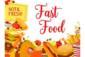 Fast food snack and drink poster for menu design