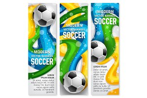 Soccer ball banner of football sport club template