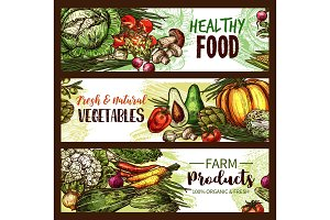Vegetable, fruit, mushroom banner of fresh veggies