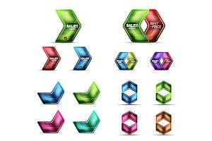 Glass metallic arrow web banner design set
