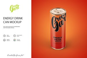 3 Energy Drink Can Mockup PSD