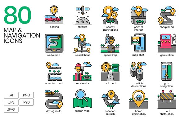 80 Map Navigation And Route Icons