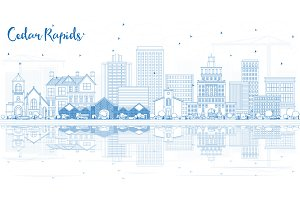 Outline Cedar Rapids Iowa Skyline