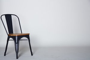 Steel with wood chair on Grey