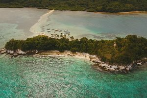 Beautiful tropical beach, aerial view. Tropical island.
