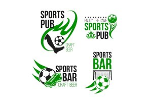 Sport pub icon with soccer ball and football gate