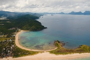 Aerial view beautiful beach on a tropical island. Philippines, El Nido.