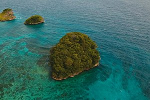 Aerial view beautiful tropical island. Boracay island Philippines.