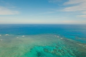 Water surface aerial view.Siargao island Philippines.