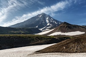 Scenery majestic active volcano