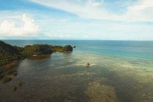Seascape with tropical island, beach, rocks and waves. Bohol, Philippines.