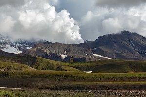 Scenery active volcano landscape
