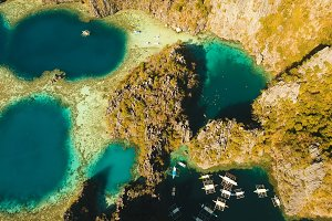 Aerial view Twin lagoon, sea, beach. Tropical island. Busuanga, Palawan, Philippines.