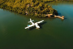 Seaplane in the bay. Busuanga, Palawan, Philippines.