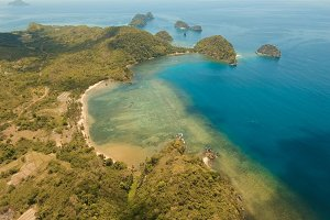 Aerial view beautiful Seascape. Busuanga, Palawan, Philippines.