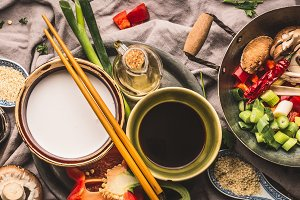 Asian food, stir fry ingredients