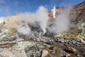 Hot springs, fumarole crater volcano