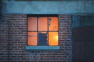 Glowing Old Window and Brick