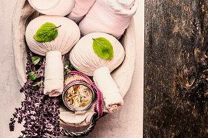 Herbal spa setting in basket