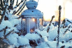winter still life and lantern