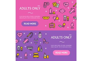 Adults Banner Set. Vector