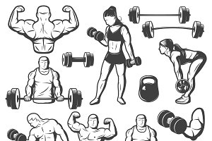 Vintage Body Building Icon Set
