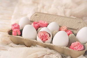 cute eggs in cardboard box