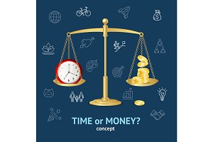 Time or Money Concept. Vector