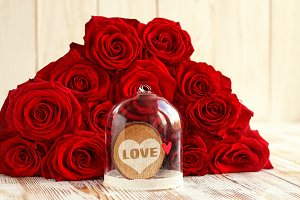 red heart in  glass dome