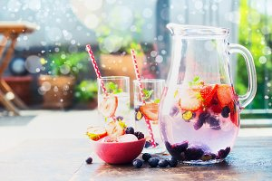 Jug with fruits infused water