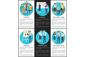 Successful Team Strategy Cards Vector Illustration