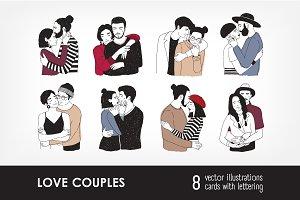 Love couples and greeting cards