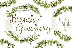 Branchy Greenery Watercolor Clip Art