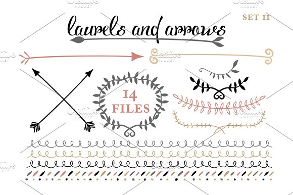 Arrows, Laruels & Borders set 2 in Illustrations