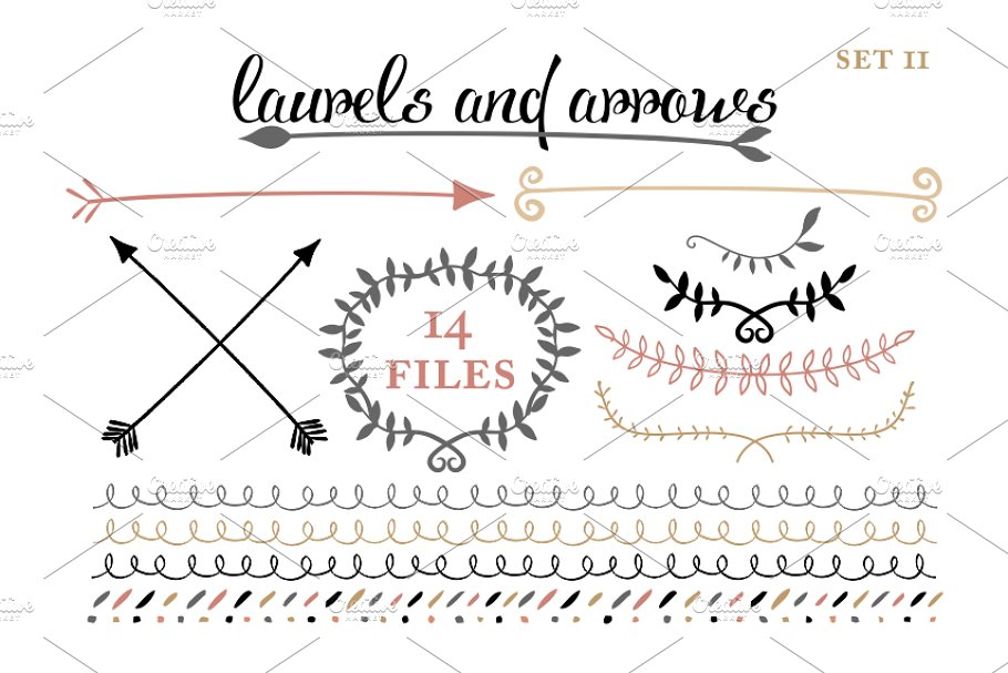 Arrows, Laruels & Borders set 2 in Illustrations - product preview 8
