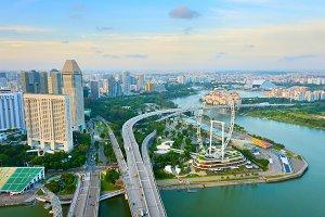 Skyline of Singapore Ferries Wheel