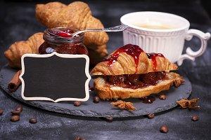 croissants with raspberry jam