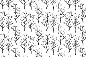Black and white dead trees pattern