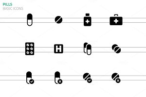 Pills medication icons on white