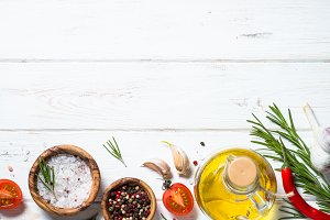 Food background on white wooden table.
