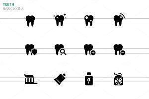 Tooth and teeth icons on white