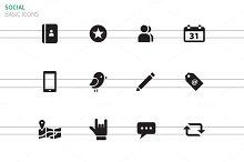 Social icons on white background.