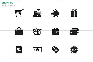 Shopping icons on white background.
