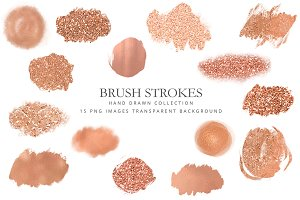 Clipart rose gold brush strokes